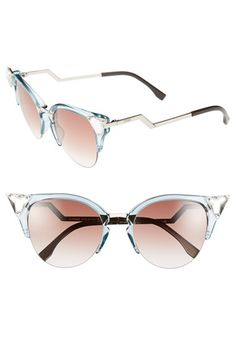 6c04da3a29 Fendi Crystal 52mm Tipped Cat Eye Sunglasses available at  Nordstrom  Nordstrom App