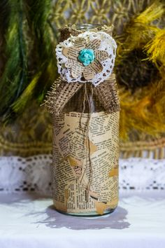 """~ click pe site pentru a cumpăra ~ ❁ ~ I call this one """"Pretty grandma"""". It really resembles with an old lady that wears a kerchief. Kerchief, Handmade Home, Old Women, Flower Vases, Dollar Stores, Twine, Create Your Own, Mason Jars, Candle Holders"""