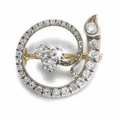 A Fabergé diamond brooch, workmaster August Hollming, St Petersburg, 1899-1908
