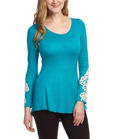 Look at this Destiny Made in the USA Turquoise Embroidered Scoop Neck Tunic on #zulily today!