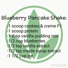 Blueberry pancake Herbalife shake  https://www.goherbalife.com/meaganms/en-US  - WHEY Protein Meal Shakes --> http://cocolaid.com