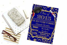 Navy and Gold Graduation Announcement by CreativelyCleverLogo