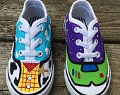Toy story custom painted shoes