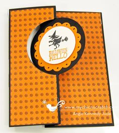 Angie's cute card uses Halloween Hello, Best of Halloween, Witches' Brew dsp, and the Circle Thinlits Card Die.