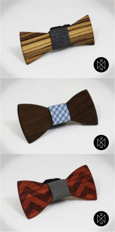 Custom Wooden Bow Ties by Two Guys Bowties | Hatch.co  Custom Wooden Bow Ties are a perfect expression of your style. You get to choose your fabric, wood, and can even add a custom engraved message on the back.
