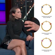 Canadian actress, Tatiana Maslany taped an appearance on The Late Show with Stephen Colbert in NYC, wearing the Shahnan Bit Knot Rings stacked in Blue Sapphire, Garnet, and Amethyst.