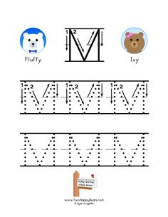 How to write the letter M, with large images to trace for practice, in free printable PDF format. Free Printable Alphabet Worksheets, Letter Worksheets, Handwriting Worksheets, Free Printables, Abc Tracing, Tracing Sheets, To Trace, Cool Lettering, Writing Practice