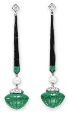 Art Deco diamond, emerald & onyx earrings