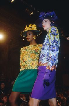Naomi Campbell and an unidentified fashion model wear Van Gogh-inspired floral print haute couture suits by French fashion designer Yves Saint Laurent. They are modeling the suits during his. Get premium, high resolution news photos at Getty Images Yves Saint Laurent Paris, St Laurent, Fashion Models, Fashion Show, Couture Embroidery, Lesage, French Fashion Designers, Androgynous Fashion, Vintage Ladies