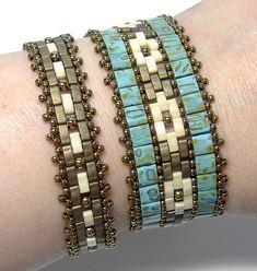 Mosaic Bands beaded pattern tutorial by Deb Roberti - DIY Schmuck Bracelets Diy, Seed Bead Bracelets Tutorials, Beaded Bracelets Tutorial, Beading Tutorials, Stretch Bracelets, Beads Jewelry, Bead Earrings, Bead Jewelry, Seed Beads
