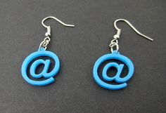 At Sign Computer Earrings - Blue Laser cut on Etsy, $10.00