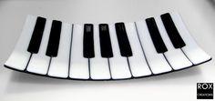 Piano Keys Fused Glass Plate