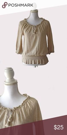 LOFT Drawstring Neck Top LOFT | size XSP | drawstring neck detail | 52% linen 48% cotton | 3/4 sleeves | all pictures taken by me product shown as is LOFT Tops Blouses