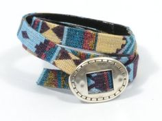 boho bracelet * blue double wrap bracelet * tribal bracelet * aztec fabric bracelet * gifts for teens * fabric ethnic bracelet by CozyDetailz on Etsy