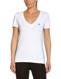 adidas Damen Kurzärmliges Shirt Essentials 3-Stripes Seasonal Tee, White Solar Blue, L, F50780
