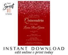 Red Glitter & Gold Sweet 16 invitations, Sweet Sixteen Invitation, Printable Birthday invite, E Quince Invitations, Sweet Sixteen Invitations, Quinceanera Invitations, Birthday Invitations, Glitter Party Decorations, Text Message Invitations, Drink Labels, Glam And Glitter, 16th Birthday