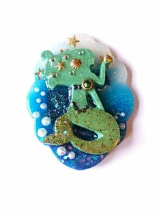 Shop for mermaid on Etsy, the place to express your creativity through the buying and selling of handmade and vintage goods. Fairy Tales, Resin, Marcel, Rainbow, Brooch, Christmas Ornaments, Holiday Decor, Creative, Handmade
