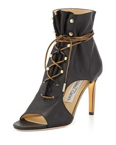 Minka+Leather+Lace-Up+Cutout+Bootie,+Black/Gold+by+Jimmy+Choo+at+Bergdorf+Goodman.