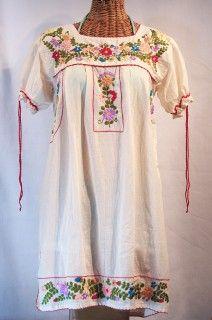 "Siren ""La Antigua"" Embroidered Mexican Style Peasant Dress - Off White $59.95"