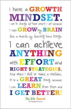 Get your own growth mindset poster for kids from Big Life Journal. A perfect way to motivate kids and help them develop a growth mindset. Growth Mindset For Kids, Growth Mindset Posters, Growth Mindset Classroom, Growth Mindset Activities, Growth Mindset Lessons, Growth Mindset Display, What Is Growth Mindset, Gifted Education, Education Quotes