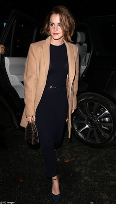 Stylish: Emma Watson was seen arriving at a screening for new documentary The True Cost in central London, where she cut a stylish figure