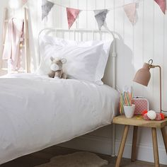 This beautiful bed linen from The White Company is the perfect choice for a classic nursery or grown-up girl's bedroom. Made in Portugal, home to some of the finest-quality bed linen, this gorgeously feminine set is crafted from 200-thread-count cotton percale with pale pink embroidered hearts scattered across the bed linen and framing the pillowcase #thewhitecompany #affiliatelink Cot Bedding, Linen Bedding, Bed Linens, Childrens Bed Linen, Painted Floorboards, Holly Willoughby Bedding, Black Bed Linen, Bed Linen Sets, The White Company