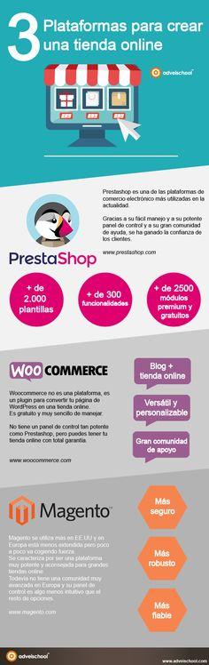 3 Plataformas para crear una Tienda Online #infografía #infographic #Ecommerce