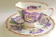 Purple Flowered Rosina Tea Cup and Saucer, Tea Cup, Cup and Saucer, English Bone China Tea Cups, Tea Set, VogueTeam, VExplosion