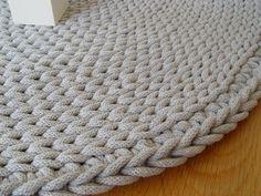 Grey cotton cord round rug crochet rug crochet by RNArtDesign
