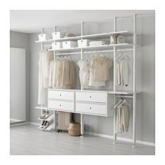 ELVARLI 4 sections, white. ELVARLI storage system adapts to your space. The open solution with durable bamboo shelves creates an attractive display of your belongings. Ikea Closet, Closet Bedroom, Bedroom Decor, Closet Space, Closet Doors, Elvarli Ikea, Ceiling Materials, Bamboo Shelf, Open Wardrobe
