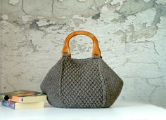 Knitting Tote, women fashion Fall tones, Knit tote, purse, Brown taupe - gifts idea autumn Bag, christmas gift idea. $85.00, via Etsy.
