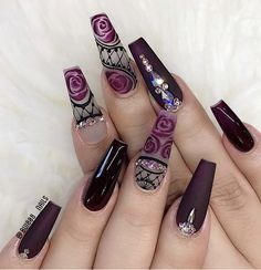 Follow me: @karinha0310 Dope Nails, Bling Nails, Stiletto Nails, Gel Nails, Coffin Nails, Best Acrylic Nails, Acrylic Nail Designs, Nail Art Designs, Nail Swag