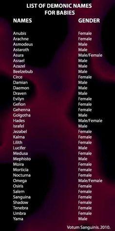 Choisir des noms démoniaques pour un bébé - Célébrez le monde souterrain