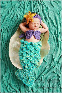 Baby Mermaid Set Starfish Headband Shells Tail Drape - Hat Crochet Outfit Newborn Boy Girl Halloween Thanksgiving Photo Prop