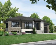 Plan Contemporary Split Level House Plan - Designed as a starter home or for retirees, this Contemporary house plan is on split levels. Bungalow Exterior, Bungalow House Plans, Exterior House Colors, House Floor Plans, Exterior Design, Exterior Houses, Contemporary Style Homes, Contemporary House Plans, Modern House Plans
