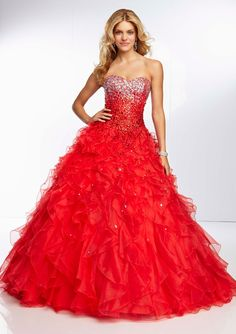 paparazzi prom 2014 style 95115 All Over Beaded Bodice in red www.TheBridesShoppe.com