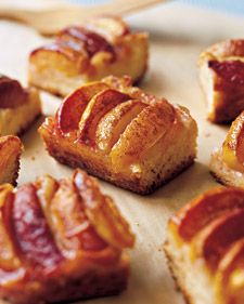 Summer peaches are roasted atop these cakes, which are made in baking pans and then cut into generous squares.