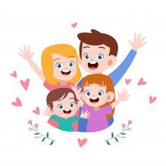 Ejemplo feliz del vector del saludo de l... | Premium Vector #Freepik #vector #fondo #banner #personas #tarjeta Vector Freepik, Family Illustration, Illustration Art, My Happy Family, Preschool Family, Kindergarten Fun, Cute Drawings, Cute Kids, Pikachu