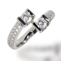 Bague Toi et Moi pavée diamants Chelidoine - Bagues diamant - Private Diamond Club