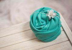 Stretchy Aqua Baby Wrap and Matching Flower Tieback by clickknits