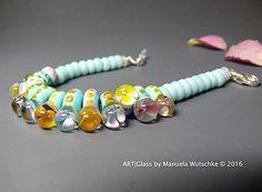 Armband Glass Lampwork Beads Silver Spring von manuelawutschke