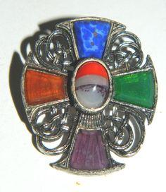 Vtg/Antique Pendant Pin Semi Precious Jewels Stones Amethyst Lapis Periodot etc. #Unbranded