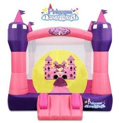 """Blast Zone Princess Dreamland Inflatable Bounce Castle by Blast Zone by Blast Zone. Save 6 Off!. $329.99. From the Manufacturer                Fairytale magic comes to life in Blast Zone's """"Princess Dreamland Bounce Castle """". This castle of clouds is perfect for special princesses and their royal friends. The Princess Dreamland Bounce Castle is an ideal bounce house for princess parties, sleepovers, backyard play, indoor fun and more. Enjoy watching your own special princess bounce ..."""