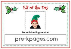Elf of the Day Free Printable for Holiday Dramatic Play Center via www.pre-kpages.com