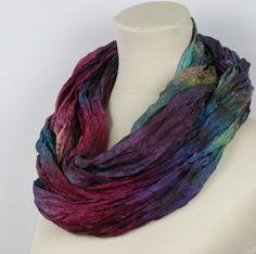 Nuno Felted Hand Dyed Infinity Silk Scarf   Multicolour  by ZMFelt, £40.00
