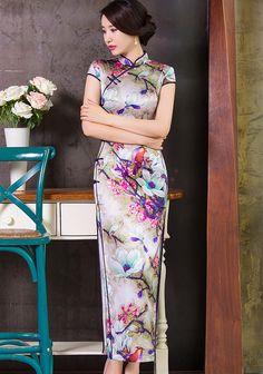 Classic Real Silk Lotus Pattern Full Length Reformed Cheongsam - iDreamMart.com