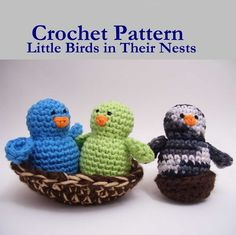 """Little Birds in their Nests - Free Amigurumi Pattern - PDF File ( click """"Download Now"""" in green letters at the end of the post)"""