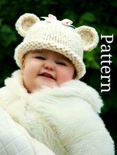 Baby Bear Hat Pattern  Baby Hat Knitting Pattern  by CreatiKnit, $5.50