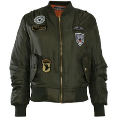 Pilot Badge Detail Bomber Jacket ($40) ❤ liked on Polyvore featuring outerwear, jackets, khaki green, khaki jacket, green flight jacket, blouson jacket, flap jacket and green bomber jacket