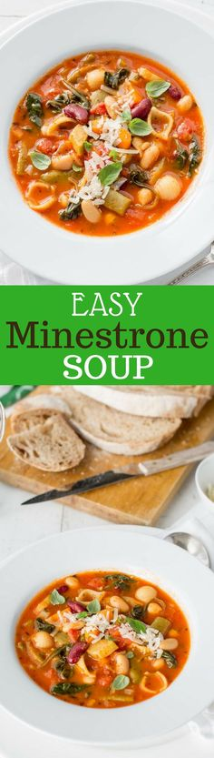 Easy Minestrone Soup ~ full of healthy legumes, green leafy vegetables, plenty of Italian herbs, a handful of pasta, and wonderfully rich tomatoey broth. From ~ www.savingdessert.com